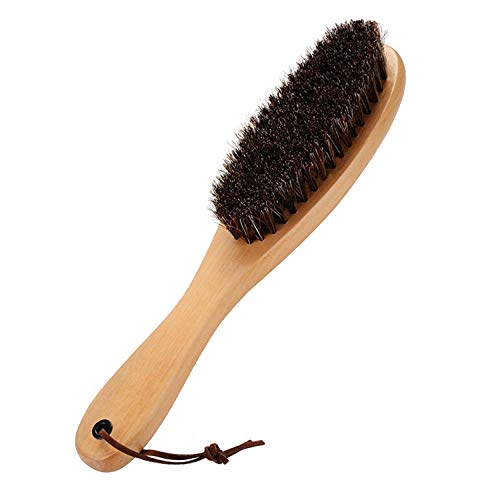 Cokaka Clothes Brush Garment Brush Lint Remover Brush with Genuine Soft Horsehair and Wooden Handle for Coat Men Suits Shoes Jacket Furniture Car Mat and Pet hair 1-Pack (solid wood)