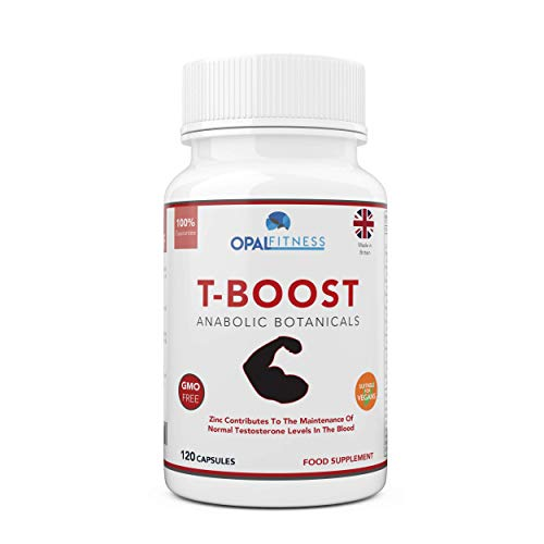 Testosterone And Libido Booster For Men By Opal Fitness - Anabolic Male Enhancing Vegan Capsules With Maca Root, Ginkgo Biloba, Korean Ginseng - Reduce Stress & Cortisol - Produced In The UK - 120 Capsules
