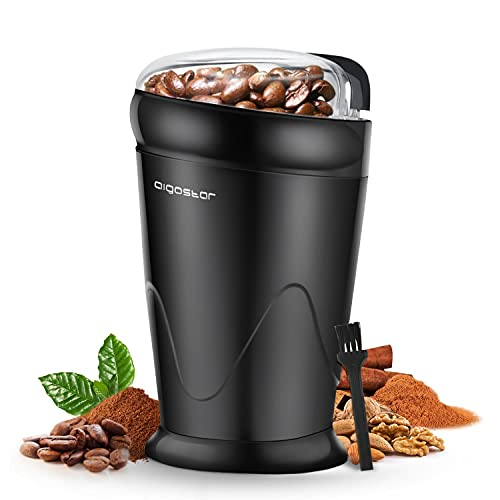 Aigostar Electric Coffee Grinder, Stainless Steel Blade, 150W, 60g Capacity, Cord Storage, Portable & Compact for Coffee Beans, Spice, Nuts, Seeds, Herbs, Black - Breath 30KYI.