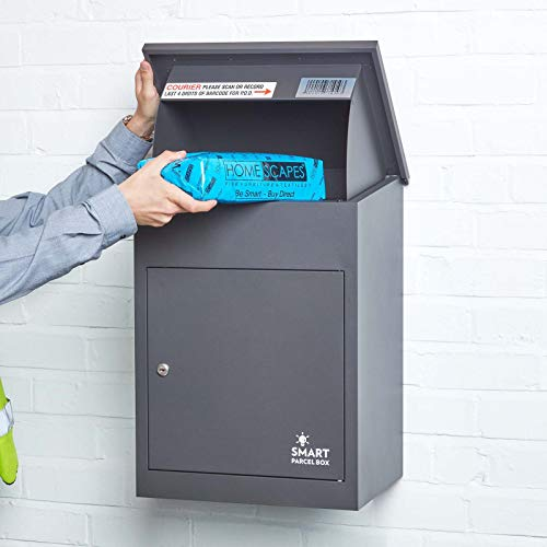 Wall Mounted Smart Parcel Drop Box Dark Grey for Secure Multiple Internet Deliveries of Large Delivery Packets Weatherproof Outdoor Delivery Box