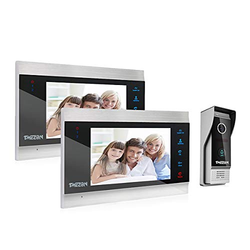 TMEZON Video Door Phone Doorbell Intercom System,1080P Door Entry System with 7 Inch 2-Monitor 1-Camera For 1-Family house,Touch Button, Night Vision,Support Automatically Snapshot/Recording