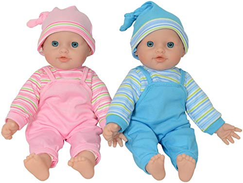 The New York Doll Collection - Twin Baby Caucasian Soft Body Vinyl Dolls 12 inch/ 30 cm – For Ages 2 Year and Up (Bonus Dummy Included)
