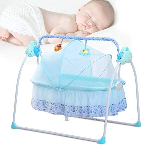 ROMYIX Electric Smart Baby Cradle, Newborns Carrier Infant Bed Blue Folding Toddler Bassinet Baby Swings Bed with Soft Music (Blue)