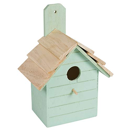 URBNLIVING Traditional Wooden Birdhouse for Wild Birds Classic Garden Nesting Box - 3 Colours (Teal)