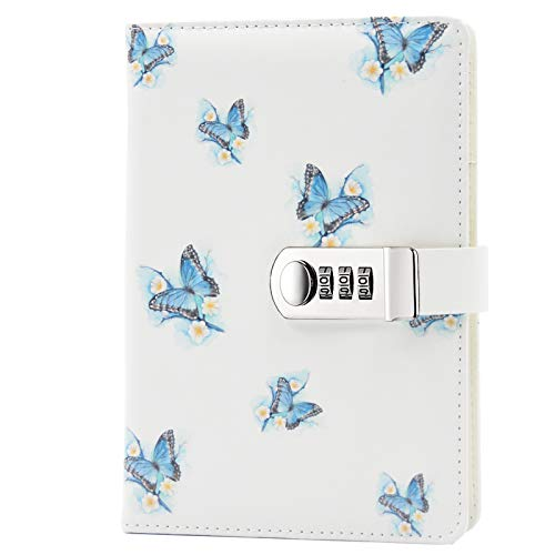Lirener Creative PU Leather Password Lock Notebook(Bird, Flower, Butterfly, Trees), A5 Diary Journal Sketchbook Daily Planner Agenda Notepad with Combination Lock Pen Holder and Card Slots, 150x215mm
