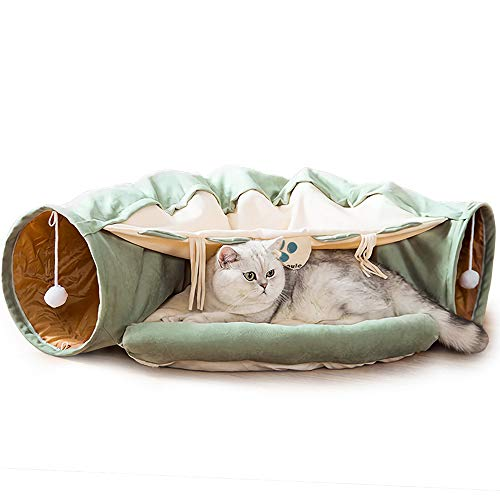 Cat Tunnel Bed with Cushion Mat, Cat Tunnel Toy Play Center with Collapsible Tube and Removable Thick Bed and 2 Hanging Scratching Balls, Peak Hole Hideout House for Cat Puppy Kitten (Green)