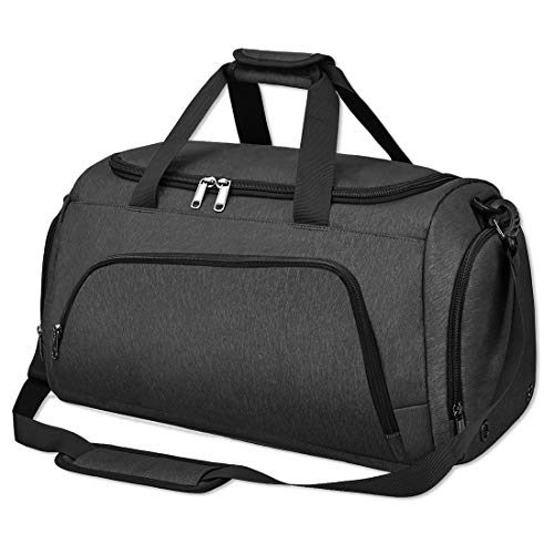 NUBILY Gym Sport Bags Duffel Bag with Shoes Compartment Large Waterproof Travel Holdall Weekend Bags with Shoulder Strap for Men and Women 40L Black
