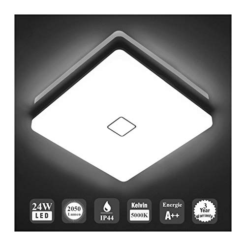 Öuesen 24W Waterproof LED Ceiling lamp Modern Thin Square LED Ceiling Lights 2050lm Cold White 5000K for Bathroom Bedroom Living Dinning Room Kitchen Balcony Corridor Hallway Wet Place