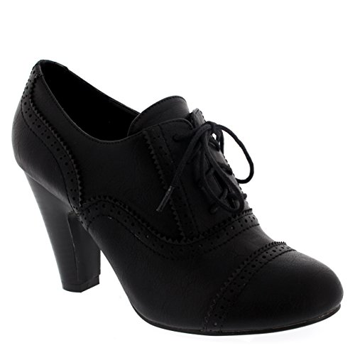 Womens Mary Jane Brogue Lace Up Ankle Boot Cuban Heels Work Office Shoes - Black - 6-39 - CD0063