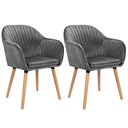 WOLTU Grey Kitchen Dining Chairs Set of 2 PCS Upholstered Counter Lounge Living Room Corner Chairs with Arms & Backrest Solid Nature Wood Legs Reception Chairs Velvet Tub Chairs Armchairs