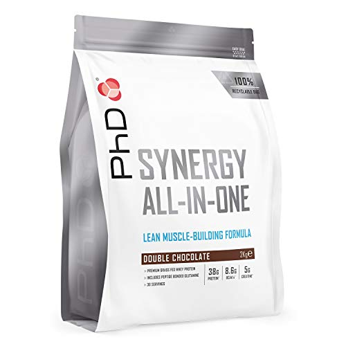 PhD Nutrition Synergy ISO-7, all-in-one premium whey protein powder, high 38g protein complex, Double chocolate as a pre / post workout drink 2 kg, Packaging may vary
