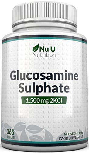 Glucosamine Sulphate 1500 mg 2KCl, 365 Tablets (1 Year Supply)   High Strength Glucosamine Tablets 2KCl   Made in The UK by Nu U Nutrition