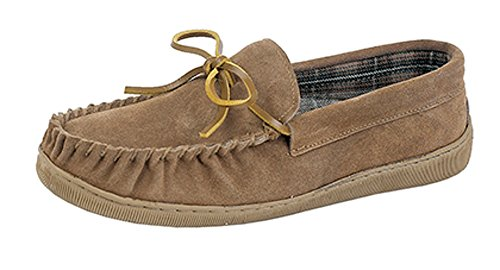 MENS GENTS REAL SUEDE MOCCASIN SLIPPERS SIZE UK 6 - 12 (8)