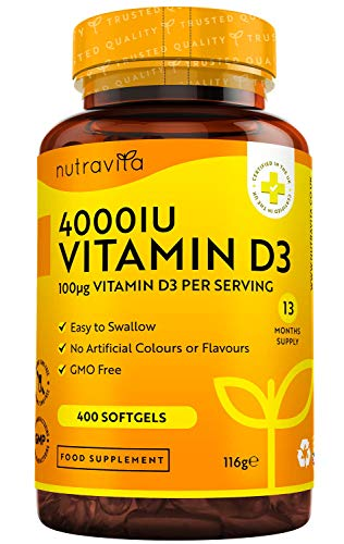 Vitamin D 4000 IU - Maximum Strength - 400 Easy to Swallow Softgels - Over A Year's Supply - High Strength VIT D3 - Manufactured in The UK by Nutravita