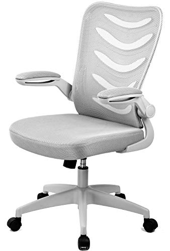 COMHOMA Desk Chair with Armrest Computer Chairs Ergonomic Conference Executive Manager Work Chair (Grey)