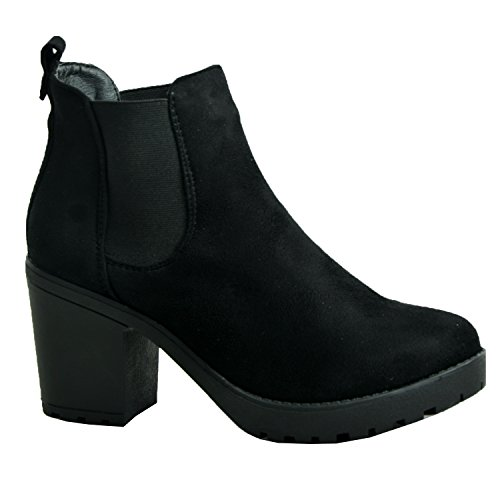 NEW WOMENS LADIES CHUNKY BLOCK HEEL GRIP SOLE CHELSEA ANKLE BOOTS SHOES SIZE 3 4 5 6 7 8, Black Suede, Size 7 UK