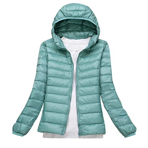 Lightweight Down Jacket Women with Hood Womens Down Coats Women's Ultra Light Packable Down Jacket Down Filled Coat Parka Quilted Padded Hooded Puffer Jacket Ladies Bubble Puffa Jacket Winter Green