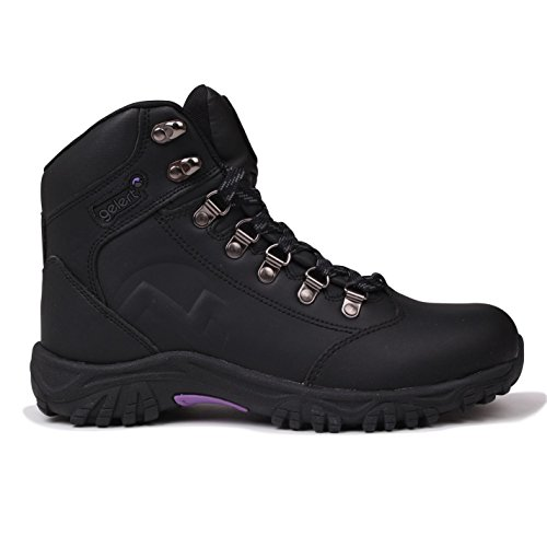 Gelert Womens Leather Boots Walking Lace Up Upper Cushioned Ankle Collar Outdoor Black UK 5 (38)