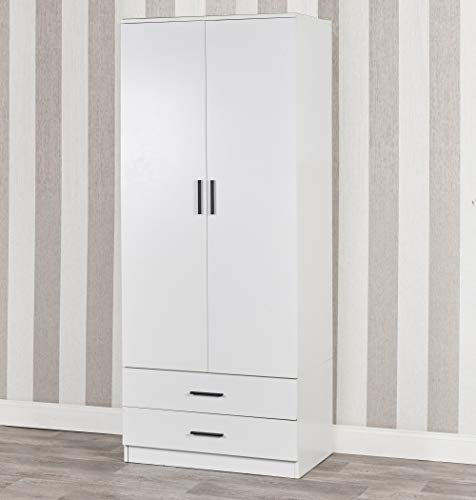 Tall Wooden White 2 Door Wardrobe With 2 Drawers Bedroom Storage Hanging Bar Clothes (White Carcass + White Drawers)