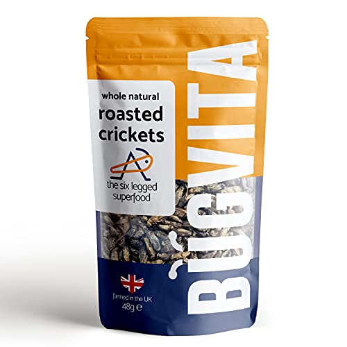 Crunchy Whole Roasted Crickets 48g | Farmed in The UK | Six-Legged Superfood | Edible Insects, Cooking and Snacks