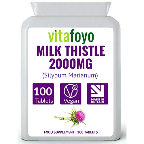 Milk Thistle Supplement 2000mg - 80% Silymarin - 100 Tablets - for Liver & Gall Bladder Support - Vegan, GMO, Gluten & Dairy Free - Made in The UK to GMP Standard