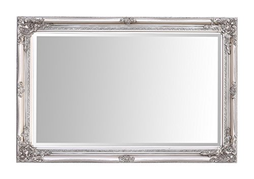 Select Mirrors Rhone Wall Mirror – French Vintage, Rococo Baroque Style, Shabby Chic Home Decor – Large - 60cm x 90cm (2x3 ft) (Antique Silver)