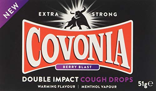 Covonia 51 g Double Impact Berry Blast Cough Drops - Strong Flavour that Keeps your Throat Warm, White/Brown