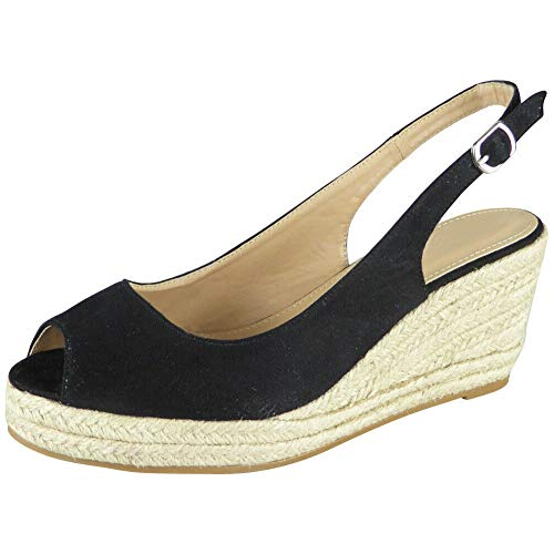 Womens Slingback Sandals | Womens Espadrille Sandals | Ladies Wedges Sandals | Womens Office Shoes | Peep Toe Sandals | Womens Platform Sandals | Ladies Espadrille Wedge Shoes Size Black Suede 5