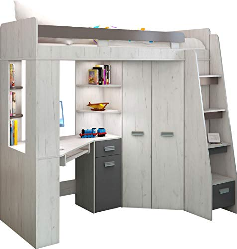High Sleeper/Bunk Bed - ALL IN ONE Right or Left Hand-side Stairs - Kids/Children Furniture Set. Bed, Wardrobe, Shelves, Desk. (Craft-White/Graphite - Right Hand-side Stairs.)