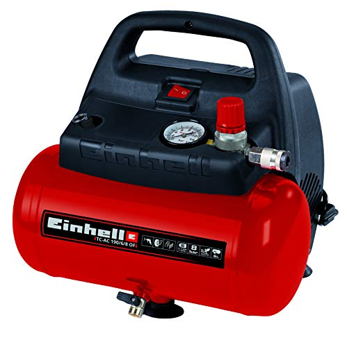 Einhell Compressor TC-AC 190/6/8 OF (1100 W, Max 8 Bar, Oil-/Service-Free Motor, 6 Liter Tank, Pressure Gauge, Quick-Release Coupling for Controlled Working Pressure, Safety Valve, Ergonomic Design)