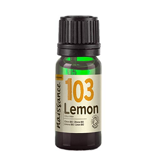 Naissance Organic Lemon Essential Oil 10ml - Pure, Natural, Certified Organic, Cold Pressed, Cruelty Free, Vegan and Undiluted - Use in Aromatherapy & Diffusers
