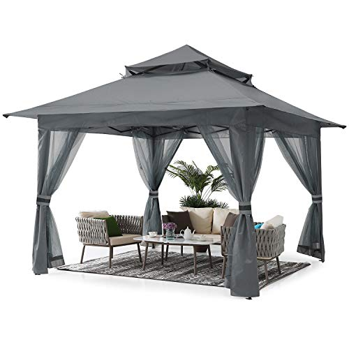 ABCCANOPY 3.6x3.6 Pop up Gazebo Tent Outdoor Canopy Shelter with Mosquito Netting (Gray)