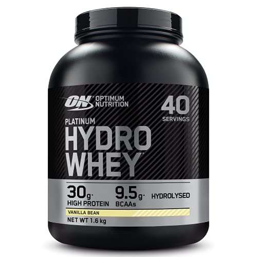 Optimum Nutrition ON Hydro Whey, Hydrolysed Whey Protein Isolate with Added and Naturally-Occurring BCAA, Vanilla, 40 Servings, 1.6 kg, Packaging May Vary