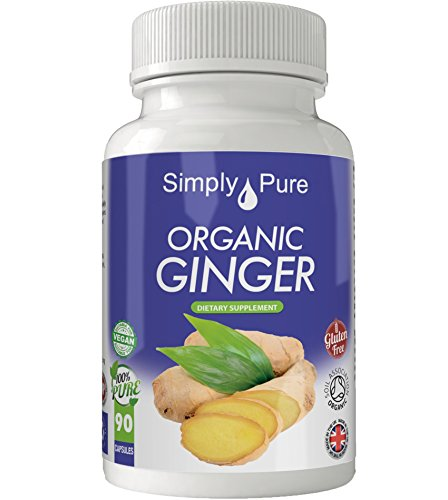 Simply Pure Organic Ginger Capsules x 90, 500mg, 100% Natural Soil Association Certified, Gluten Free, GM Free and Vegan.
