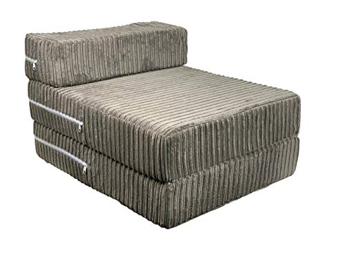 Futon Chair Z Bed Single Guest Bed Super Comfy Jumbo Cord Sleep Over Bed Foam Sofa Z Bed (Charcoal)