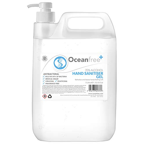 70% Alcohol Hand Sanitiser Gel - 5L Litres with pump - Certified Surgical/Medical Grade - Made in the UK (Single)
