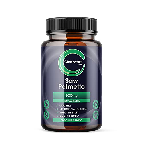 Saw Palmetto 3000mg - 180 Vegan Capsules - 6 Months Supply - High Strength (20:1 Extract Ratio) Saw Palmetto Capsules from Clearwave Health