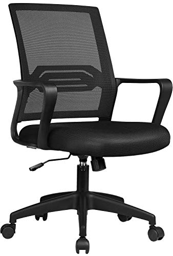 COMHOMA Office Chair Desk Ergonomic Chair with Arms Back Support Mesh Chair for Home Office (BLACK)