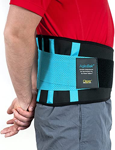 Clever Yellow Back Support Belt, Lower Back Brace - the Only Certified Medical-Grade Belt for Pain Relief and Injury Prevention, AgileBak Black and Blue L
