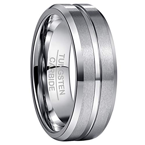 NUNCAD Silver Men's Rings for Hobby Lifestyle Grooved Center Tungsten Carbide Ring for Wedding Engagement Size R 1/2