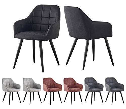 2x Faux Matte Suede Leather Dining Chairs Accent Chairs home & restaurants Adrian (Black)