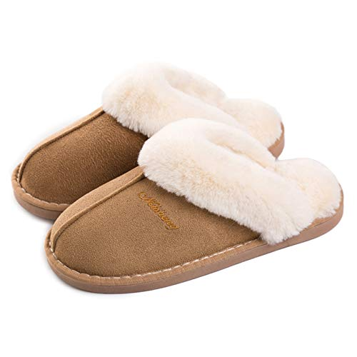 Womens Slipper Memory Foam Fluffy Slip-on House Suede Fur Lined/Anti-Skid Sole, Indoor & Outdoor Light Brown 5.5-6.5