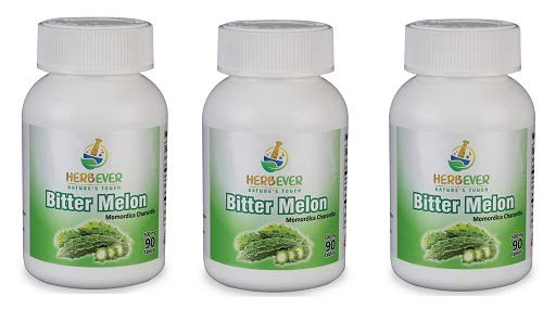 Pack of 3 - HerbEver Bitter Melon - (500MG 90 Tablets), Natural Vegetarian & GMO Free (3 Pack)