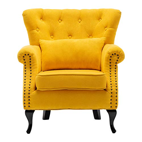 Warmiehomy Modern Chenille Fabric Armchair Upholstered Accent Buttoned Wing Chair Conservatory Bedroom Living Room Furniture (Yellow)