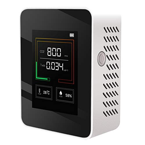 F Fityle Indoor CO2 Meter Temperature and Relative Humidity Carbon Dioxide Detector Air Quality Monitor CO2 Monitor Sensor 400~5000ppm Range(Battery Included) - White
