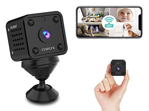 【2021 Upgrade】Mini Camera - CUSFLYX WiFi 1080P Camera Motion Detection IR Night Version Nanny Pet Home Office Garage Security Monitor Sport Camera 150 ° Wide Angle for IOS/Android (2.4G Only)