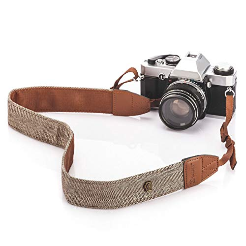 TARION Camera Shoulder Neck Strap Vintage Belt for All DSLR Camera Nikon Canon Sony Pentax Classic White and Brown Weave, Bohemian-Strap-LYN-241Z