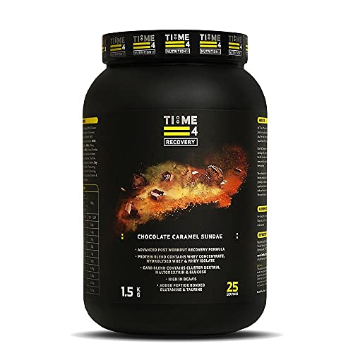 Time 4 Recovery - Post Workout Recovery Protein Powder, Recovery Protein Blend - Whey Isolate, Whey Concentrate, Hydrolysed Whey + Carb Blend – Recovery Formula (1.5kg, Chocolate Caramel Sundae)