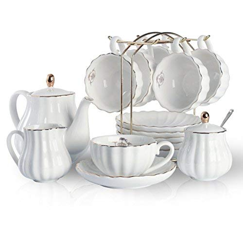 Sweejar Home Porcelain Tea Set Royal Family 225 ml to Cups and Saucers with Teapot Sugar Bowl Milk Jug Ceramic Tea and Coffee Cups (White)