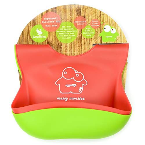 2 Silicone Baby Feeding Bibs by Jump Baby®. Weaning Bibs Suitable for Boys and Girls Aged 6 Months to 3 Years.